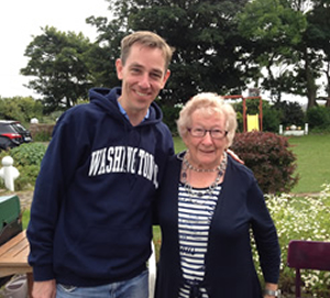 Granny Liz at Island View Riding Stables with Ryan Tubridy