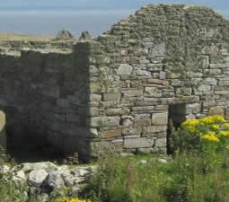 Remains of old stone house on Inishmurray
